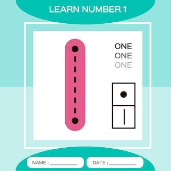 Leer nummer 1. een. educatief spel voor kinderen. spel tellen.