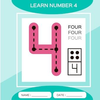 Leer nummer 4. vier. educatief spel voor kinderen. spel tellen.