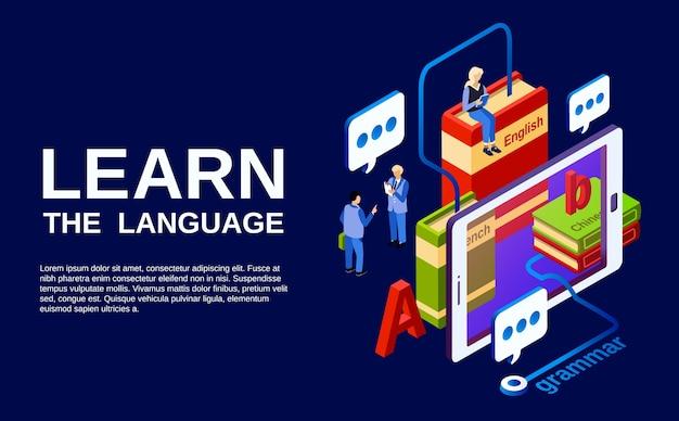 Leer taalillustratie, studie van vreemde talenconcept.