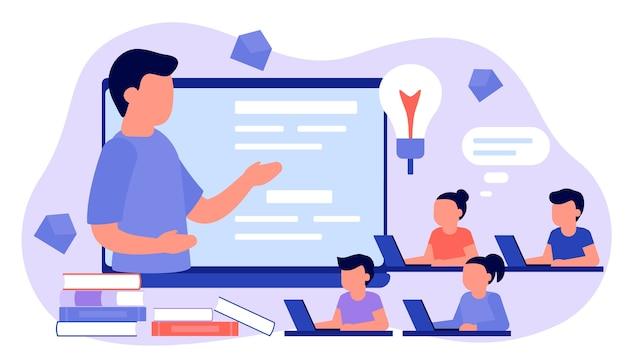 Leer van afstand met mannelijke leraar, online onderwijs. kinderen jongen en meisje zit op laptop en les studeren. kind leert op afstand. home school, web e-learning, kennisconcept. vlak