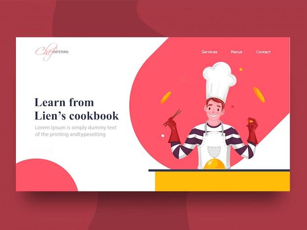 Leer van lien's kookboek bestemmingspagina met chef-kok karakter presenteren voedsel cloche op tafel.