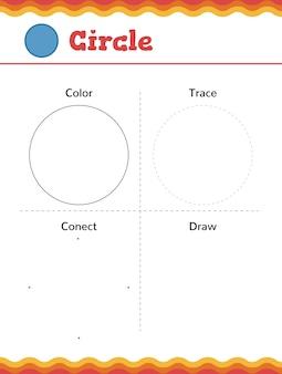 Leer vormen en geometrische figuren. voorschoolse of kleuterschool werkblad. vector illustratie