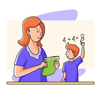 Leer wiskunde met de mooie leraar