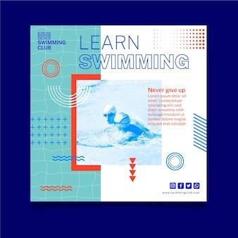 Leer zwemmen kwadraat flyer-sjabloon Premium Vector