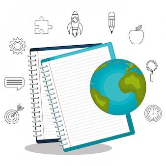 Leerboeken en educatieve behulpzame geïsoleerde pictogram ontwerp