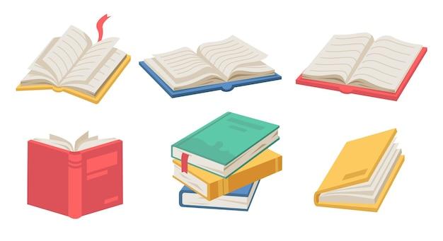 Leerboeken met bladwijzers en pagina's