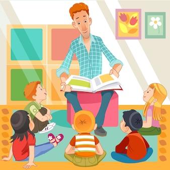 Leerkracht lezen voor schattige kinderen in de kindertuin