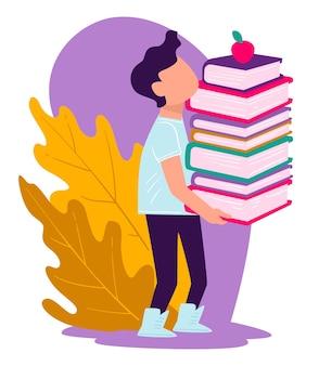 Leerling die kennis verwerft op school, jongen die stapel boeken draagt. publicaties en studieboeken voor studierichtingen en huiswerk. appelfruit bovenop notitieboekjes, vector in vlakke stijlillustratie
