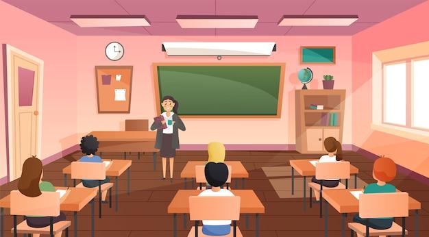 Leerlingen en leraar in de klas