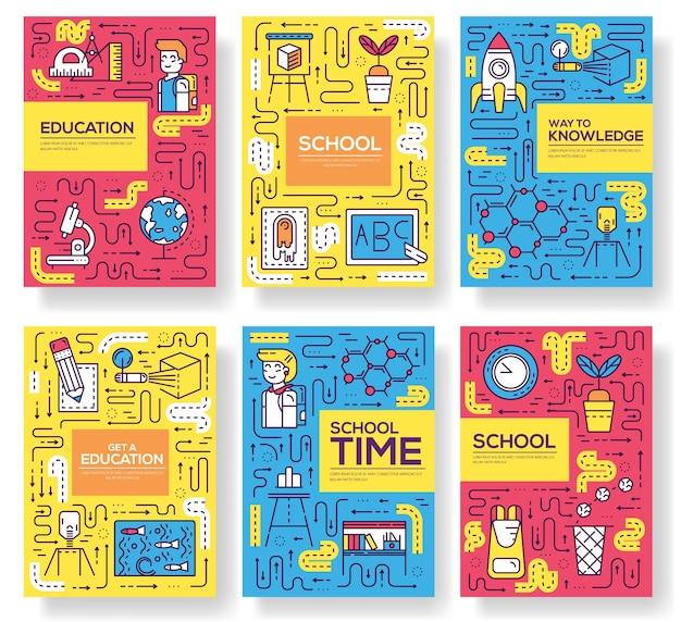 Leerlingen in de klas van flyer illustratie