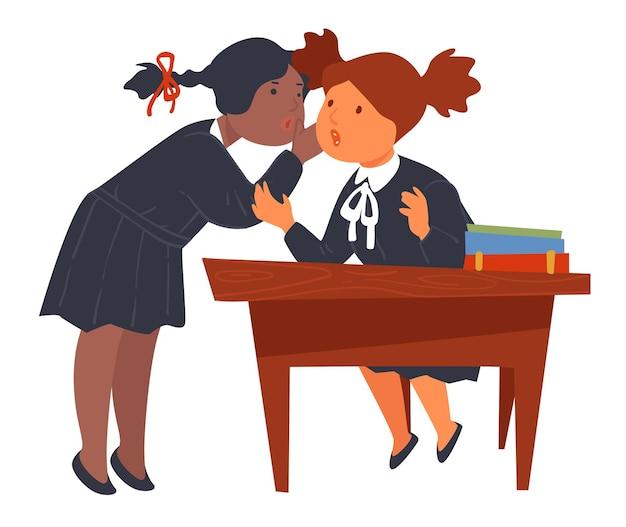 Leerlingen praten tijdens schoolpauze, vriendinnen roddelen of geheimen vertellen. meisjes die uniformen dragen, zitten bij een bureau met boeken en apparaten voor lessen. chatten met kinderen, vector in vlakke stijl
