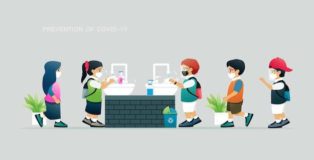 Leerlingen voorkomen covid door handen te wassen met zeep