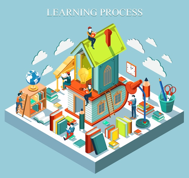 Leerproces. online onderwijs isometrisch plat ontwerp. het concept van het lezen van boeken in de bibliotheek en in de klas. .