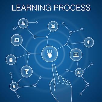 Leerprocesconcept, blauwe background.research, motivatie, onderwijs, prestatiepictogrammen