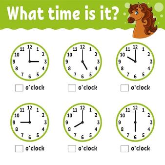 Leertijd op de klok educatief werkblad voor kinderen en peuters