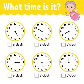 Leertijd op de klok. werkblad met educatieve activiteiten voor kinderen en peuters.