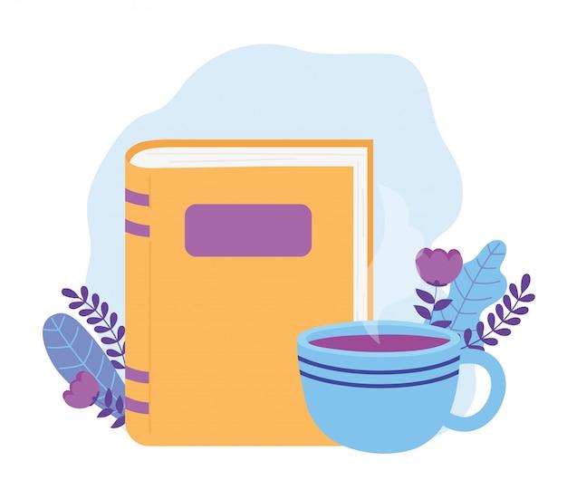 Lees boek koffiekopje cartoon pauze