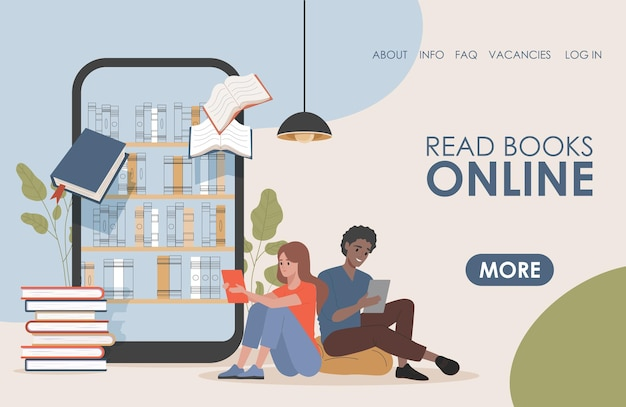 Lees boek online vector platte bestemmingspagina-sjabloon jong gelukkig