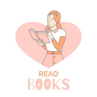 Lees boeken banner ontwerpsjabloon. vrouw leest boek cartoon overzicht illustratie. intelligente, intellectuele hobby.