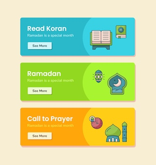 Lees koran ramadan-oproep tot gebed voor bannersjabloon met vectorontwerpillustratie met onderbroken lijnstijl