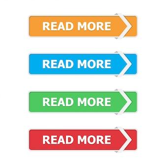 Lees meer knoppen in een flat met pijl op wit