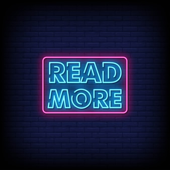Lees meer neon signs style text