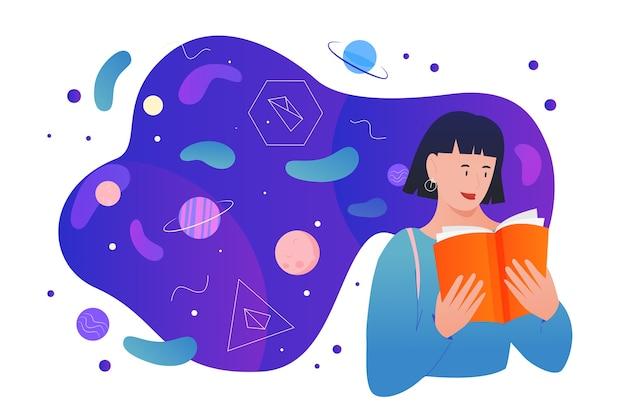 Lees wetenschappelijke boeken, stripfiguur van jonge lezersstudent studeert, lees wetenschappelijk leerboek