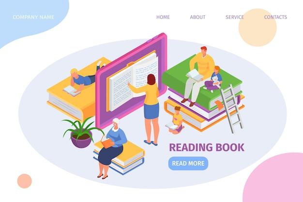 Leesboek, isometrische webpagina, vectorillustratie. man vrouw mensen karakter gebruiken digitale bibliotheek, online elektronisch onderwijs.