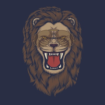 Leeuw boos hoofd brillen vector illustratie