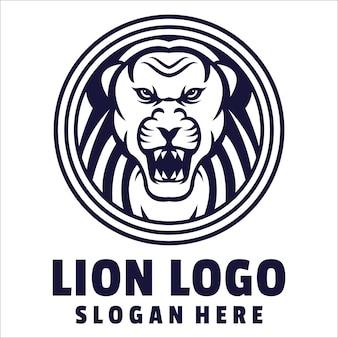 Leeuw boos logo Premium Vector