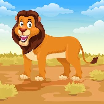 Leeuw cartoon in de savanne