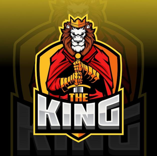 Leeuw de koning mascotte lesport logo
