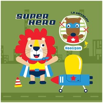 Leeuw de superheld grappige dierlijke cartoon