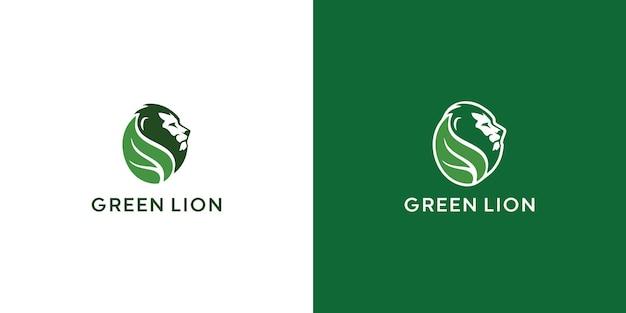 Leeuw en blad logo ontwerp premium vector