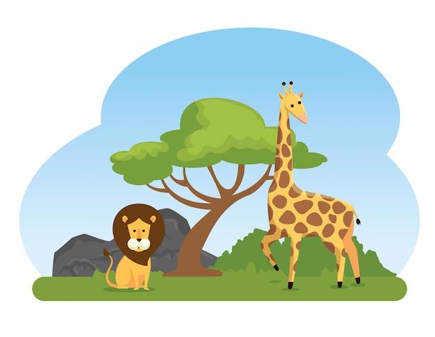 Leeuw en giraf wilde dierenreserve