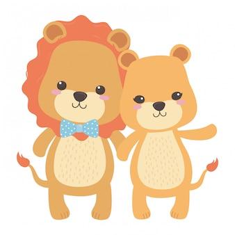Leeuw en leeuwin cartoon