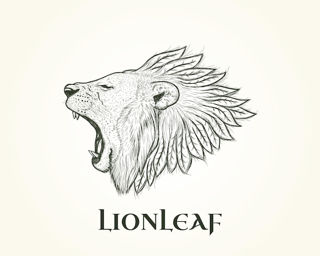 Leeuw illustratie logo met blad manen