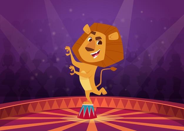 Leeuw in circus. wild boze leeuw acrobaat springen in brand cirkel circusartiest toon vector cartoon achtergrond. illustratie leeuw circus dier, wild zoogdier