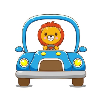 Leeuw karakter rijdende auto.