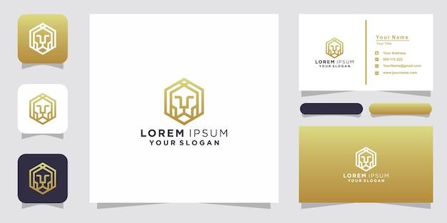 Leeuw lijn logo ontwerp en visitekaartje