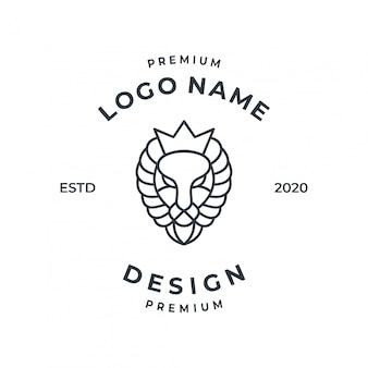 Leeuw logo concept met lijn kunststijl.