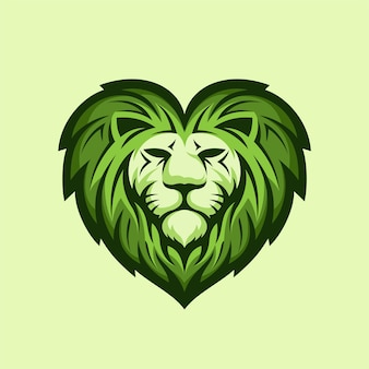 Leeuw logo met liefde concept