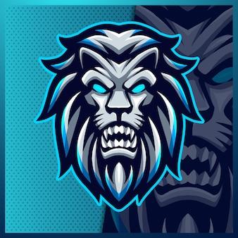 Leeuw mascotte esport logo ontwerp illustraties dierlijk logo voor teamspel