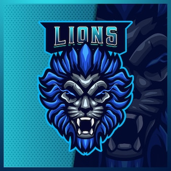 Leeuw mascotte esport logo ontwerp illustraties sjabloon blue lion-logo