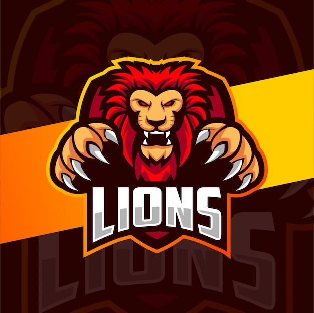 Leeuw mascotte esport logo ontwerp