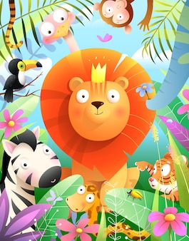 Leeuw met kroon een koning van jungle dieren met olifant toekan tijger aap slang en zebra