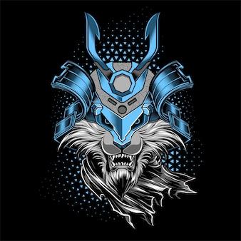 Leeuw met samurai helmed