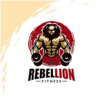 Leeuw met sterk lichaam, fitnessclub of gym logo. ontwerpelement voor bedrijfslogo, label, embleem, kleding of andere koopwaar. schaalbare en bewerkbare illustratie