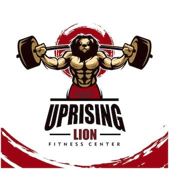 Leeuw met sterk lichaam, fitnessclub of gym logo.