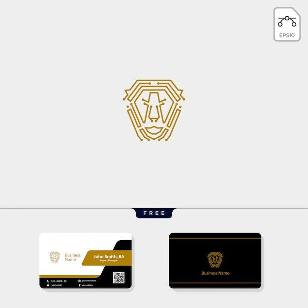 Leeuw monoline logo en gratis visitekaartje ontwerp